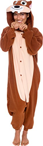 Silver Lilly Unisex Adult Pajamas - Plush One Piece Cosplay Chipmunk Animal Costume (Brown, X-Large)]()