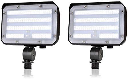 Knuckle Mount LED Flood Light – LED Lights 50W 6000Lm Dusk to Dawn Outdoor LED Flood Lights 5000K 300W MH Equal Outdoor Lighting for Doorways, Pathways, Yard, Landscape, Garden ETL Listed 2 Pack