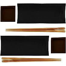 BambooMN Reusable Black Bamboo Sushi Serving Tray Set - 2 Sets