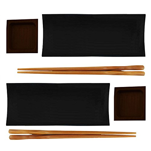 Bamboomn Reusable Black Bamboo Sushi Serving Tray Set   2 Sets