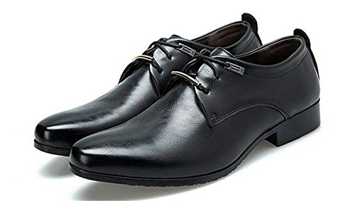missfiona Mens Classic Lace-up Dress Oxford Shoes Plain Toe Business Casual Shoes Black 9jUSwwIxOI