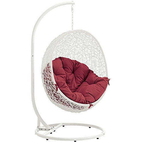 Modway EEI-2273-WHI-RED Hide Wicker Rattan Outdoor Patio Balcony Porch Lounge Egg Swing Chair Set with Stand White ()