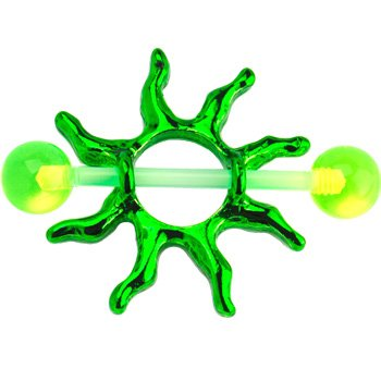 Green Tribal Sun Nipple Shield Set of 2 14 Gauge 3/4
