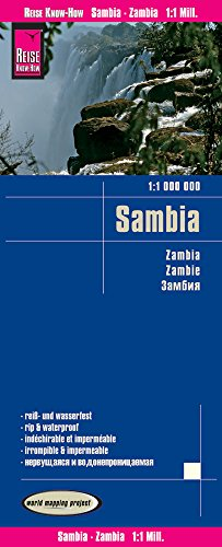 Zambia Travel Map 2017 (English, Spanish, French, German and Russian Edition)
