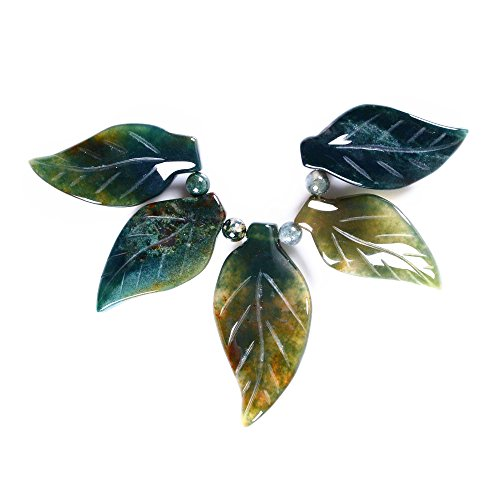 40-53mm Carved gemstone leaf leaves graduated pendant beads set Jewelry Making (Moss agate) ()