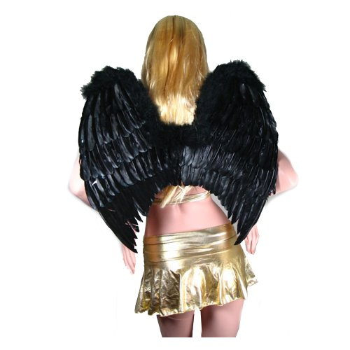 SACAS Large Feather Fairy Angel Wings in Black