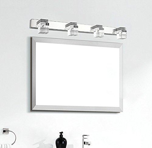 comeonlight Bathroom Vanity Light, LED Wall Lamp, 4-lights 6000K White 12W (Crystal Cube ...