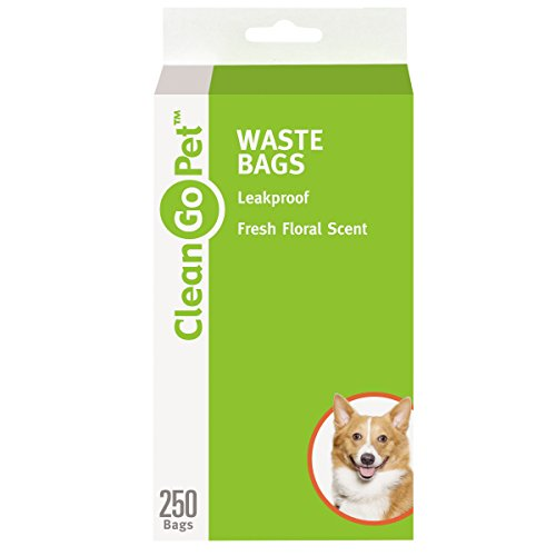 Clean Go Pet Fresh Scent Doggy Waste Bags, 250-Count - Convenient, Leakproof, Plastic, Scented Poop Bags ()