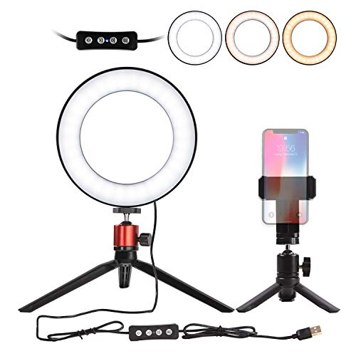 "Nugilla LED Ring Light 6"" with Tripod Stand for YouTube Video and Live Stream/Makeup, Mini LED Camera Light with Cell Phone Holder Desktop LED Lamp with 3 Light Modes & 11 Brightness Level"