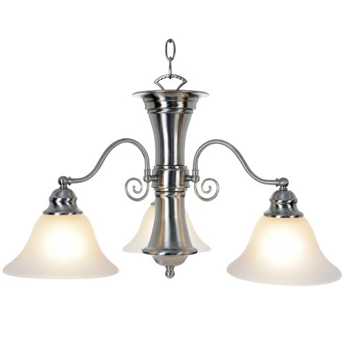 Monument 617254 Wellington Chandelier, Brushed Nickel, 24 X 14-3/4 In. For Sale