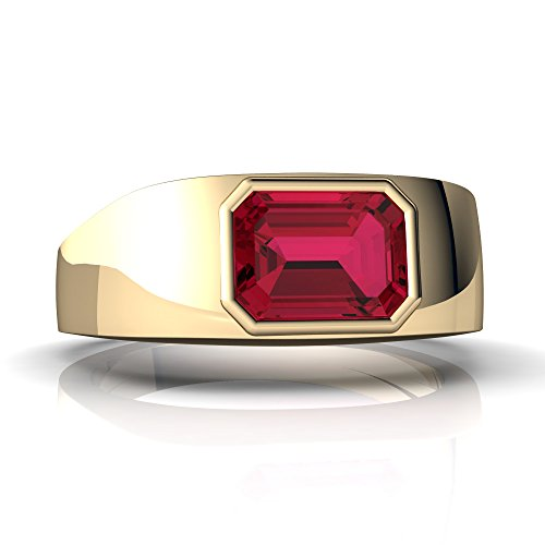 14kt Yellow Gold Lab Ruby 8x6mm Emerald_Cut Men's Ring - Size 7 ()