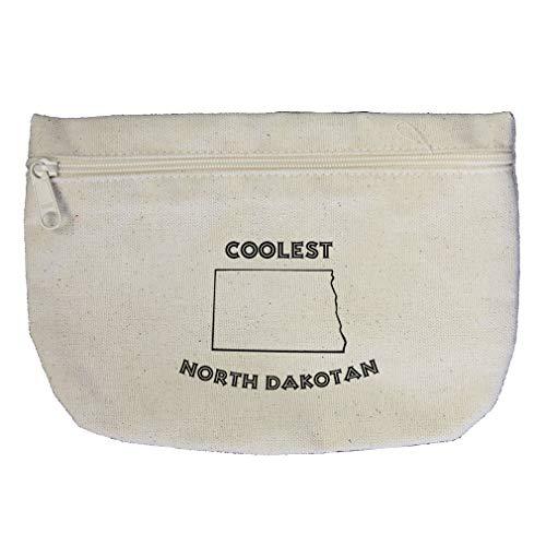 Coolest North Dakotan North Dakota Cotton Canvas Makeup Bag Zippered Pouch