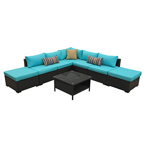 Rattaner Outdoor Wicker Sectional Furniture Set- 8 Piece Patio PE Rattan Conversation Sofa Set (Black Rattan with Turquoise Cushions)