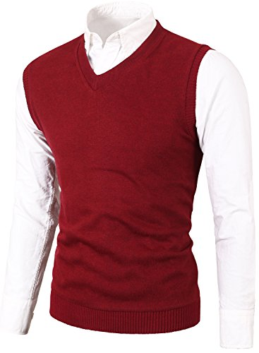 MIEDEON Mens Various Color Casual Slim Fit Knit Vest Sweater Wine Red M