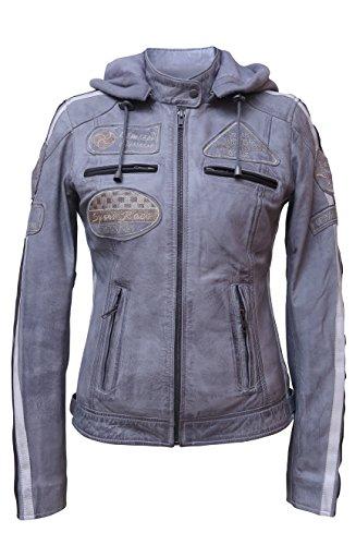 Urban Leather Damen Motorradjacke mit Protektoren, Grau, XL