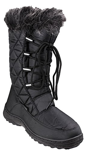 Cotswold Ladies Gale Faux Fur Trim Waterproof Leather Snow Boot Black Black