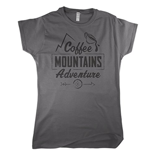 Mixtbrand Women's Coffee Mountains Adventure Fitted T-shirt S Charcoal