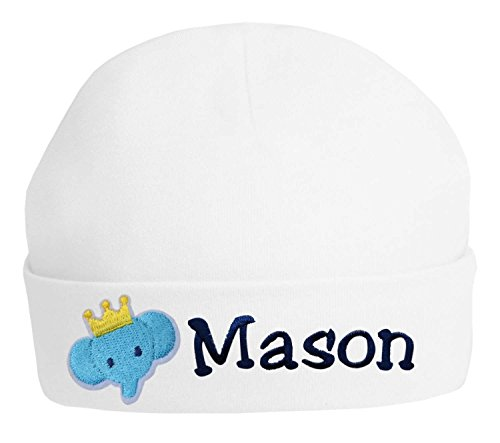 ered Baby Boys Keepsake Hat with ELEPHANT From Funny Girl Designs YOUR TEXT (WHITE) ()