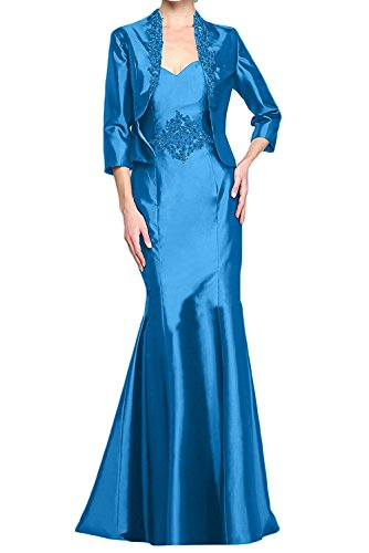 Braut Blau Etuikleider Langarm Partylkleider mit Brautmutterkleider Jaket mia Festlich Satin La Abendkleider Langes 5wq6Z57S