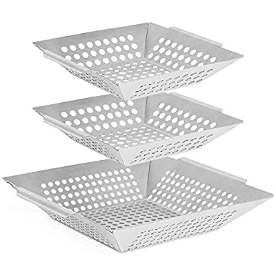 Vencino Grill Baskets, BBQ Wok for Vegetable, Shrimp, Meat - Stainless Steel Grilling Accessories, Charcoal, Gas or Electric Grills OK