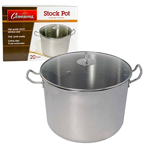 20 Quart Stock Pot- All Purpose, Stainless Steel Cooking Pot by Camerons Products