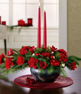 Christmas Flowers - Merry & Bright Centerpiece by christmas flowers