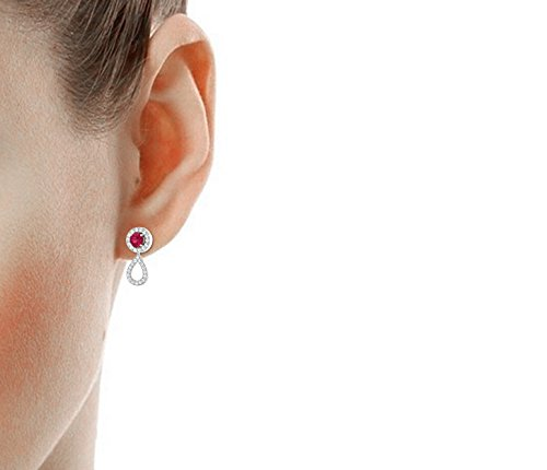 Libertini 0.61 Cts Diamonds & 0.8 Cts Ruby Earrings in 14KT White Gold (GH Color, PK Clarity)
