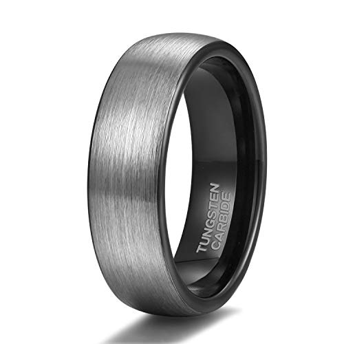 Grey Dome Ring - Shuremaster 6mm 8mm Black Grey Tungsten Carbide Rings for Men Women Brushed Dome Wedding Band Size 4-15