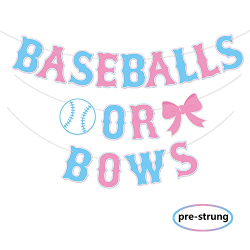 Kitticcino Baseballs or Bows Gender Reveal Banner Boy or Girl Baby Shower Garland Blue or Pink Gender Reveal Party Pregnancy Announcement -