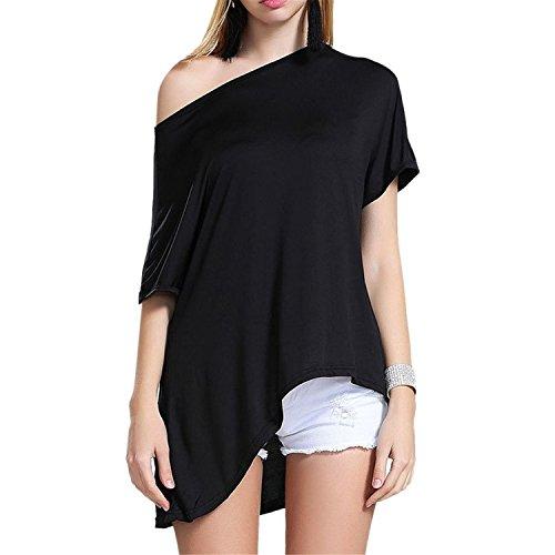 Tobyak Women's Off Shoulder Asymmetric Half Sleeve Batwing T Shirt BlackSmall Fashion style (70s Dress Up Ideas)