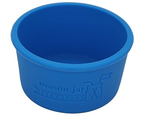 MJL Wide Mouth Half Pint Silicone Sleeve for Kerr Mason Jars (Bright Blue, 2 Pack)