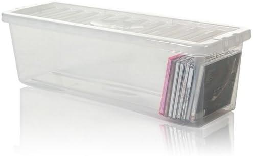 OC ORDEN EN CASA Y MUCHO MAS Caja de plástico Guarda CDs (Material: Plástico. Medidas: 60x20x18cm. Color: Transparente.): Amazon.es: Hogar