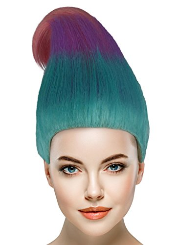 Troll Doll Costume (Chestnut Cone Ombre Wig w/Wig Cap Cosplay Costume Party Halloween Ombre Hairpiece)