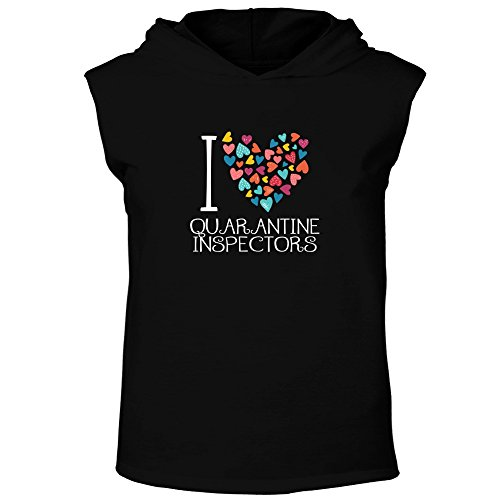 Idakoos - I love Quarantine Inspectors colorful hearts Hooded Sleeveless T-Shirt (Quarantine Tanks)