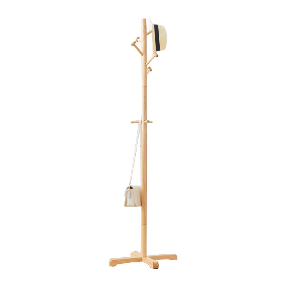 木製ハンガー/床寝室コートラック/シンプルな木製衣服ラック/メインロッド直径4センチメートル/ホーム吊りフレーム(50 * 50 * 178センチメートル) (色 : 木の色) B07DGVCF3F 木の色