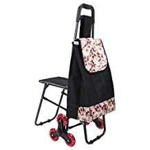 HCC& Trolley Dolly Climb the Stairs with Seat Shopping Cart Multipurpose Collapsible Dual-use Lever Utility Cart Apartment