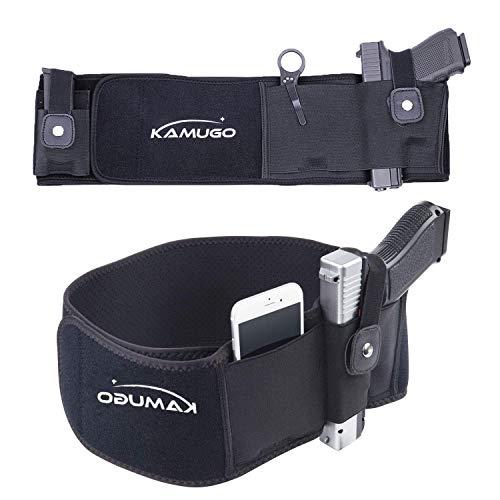 KAMUGO Belly Band Carrier - Concealed Carry Purse - Holsters for Pistols - Belt Glock Holster - Premium Women & Men Tactical Belt - Adjustable Hip Holster with Spare Magazine ()