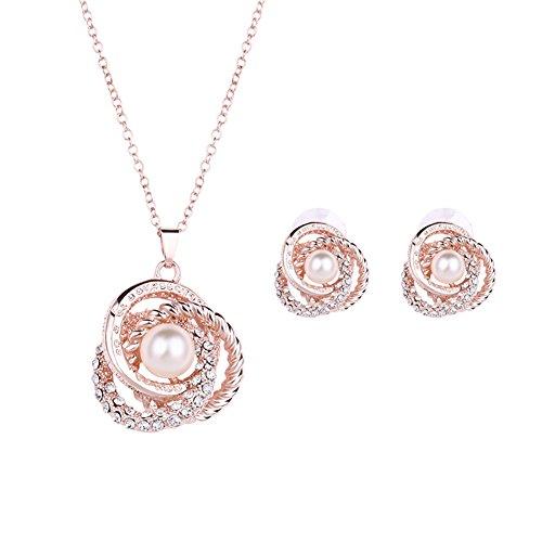 Wintefei Women Faux Pearl Rhinestone Inlaid Necklace Earrings Ear Studs Jewelry Set - Rose (Faux Gold Jewelry Set)