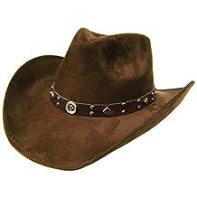 """Modestone Unisex """"Felt Feel"""" Wide Brim Cowboy Hat Brown"""