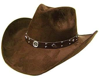Modestone Unisex Felt Feel Wide Brim Cowboy Hat Brown