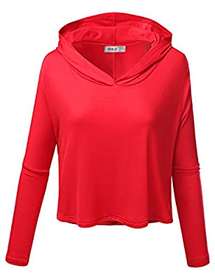 Doublju Women Lightweight Basic Designed Dolman Sleeve Active Hoodie Top