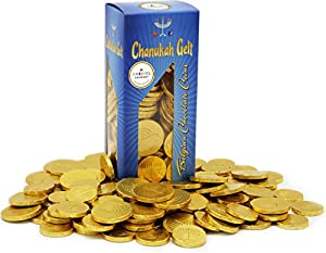Hanukkah Chocolate Gelt - Nut Free - Belgian Milk Chocolate Coins - 1LB - Over 100 Coins - OU D Kosher Chanukah Gelt