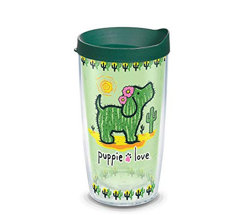 (Tervis 1311284 Puppie Love-Cactus Insulated Tumbler with Wrap and Hunter Green Lid, 16oz, Clear)