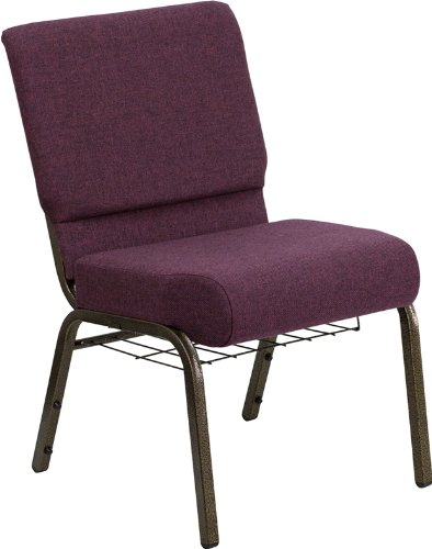 (Offex 21'' Extra Wide Plum Fabric Church Chair with 4'' Thick Seat and Communion Cup Book Rack - Gold Vein Frame)
