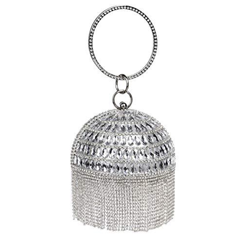 Fringe Fashion Evening Occasions Rhinestone Parties Ladies And Wedding Banquet For Handbags Handbag Bag Silver Spherical Evening Bag Elegant 8qwrg4t8