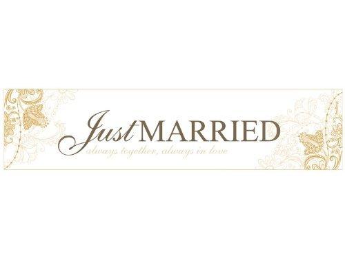 Auto Cartel boda wedding Just Married en crema & Oro de Auto ...