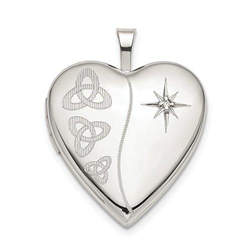 Silver Sterling Keychain Diamond (Sterling Silver 20mm Diamond Trinity Heart Locket)