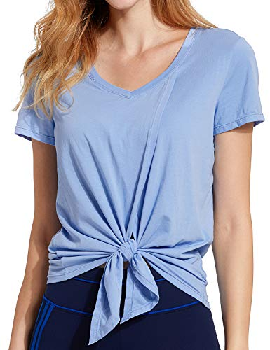 CRZ YOGA Women's Pima Cotton Workout Short Sleeve V-Neck Tie T Shirt Tops Blue Violet-Tied XXS(00) (00 Tie)