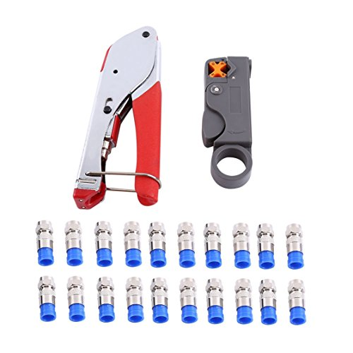 RG6 Coax Cable Crimper Coaxial Compression Tool Set Kit Wire Stripper With F RG59 Include Connectors, Tools, Rotary Stripper Nickel Rg6 F Connectors