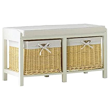 Awesome Hallway Wicker Storage Bench Cream Onthecornerstone Fun Painted Chair Ideas Images Onthecornerstoneorg